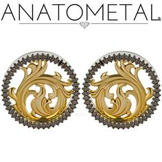 Completely customized plugs. The nouveau inserts with brown CZ marquise cut stones make for an awesome look! visit the shop and see what we can put together for you! Photo by Anatometal.