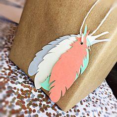20 pack pastel pluma etiquetas etiquetas por JanieBugPaperLove