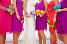 fiesta wedding at the don cesar by liz smith weddings & events, photography by limelight Bright Bridesmaid Dresses, Always A Bridesmaid, Wedding Bridesmaids, Mexican Beach Wedding, Mexican Themed Weddings, Love Wedding Themes, Wedding Colors, Wedding Ideas, Chic Wedding