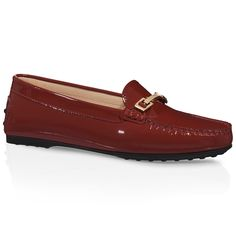 City Gommino loafers in glossy patent leather with branded equestrian-inspired metal buckle and rubber outsole with embossed pebbles.