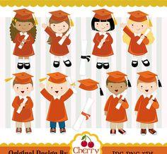 Graduation_Boys y niñas gráfico digital set(Orange)-graduación-personales y uso comercial -