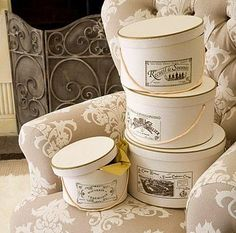 Set Of Four French Style Hat Boxes