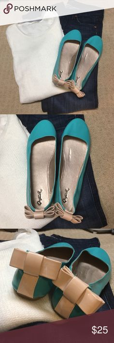 Brand new flats with bow back These are adorable teal colored flats with cute bow detail on the back. Size 10, brand new without tags. Qupid Shoes Flats & Loafers