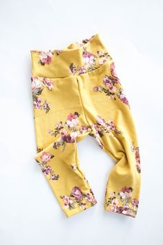 Mustard floral leggings - Newborn to Adult sizes - Mommy and me leggings