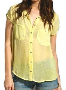 Free People Golden Mos Button Down Spell Bound Split Back Shirt in Yellow Free People. $77.00