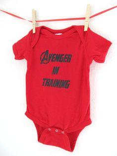 Superhero Onesie - Avenger in Training Baby Avengers Bodysuit Creeper Super Hero Shirt. $15.00, via Etsy.