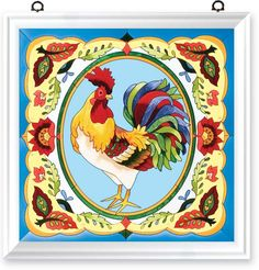 Shop for Joan Baker Hand Painted French Country Rooster Art Panel. Rooster Craft, Rooster Decor, Art Floral, Floral Motif, Arte Country, French Country, Arte Do Galo, Balloon Shades, Chicken Bird