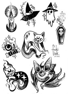 Halloween design in flat style - witch in dark dress and hat flying on broomstick over graveyard with tombs on web page template with carved pumpkins and spider in vector illustration. Goth Tattoo, Tattoo Und Piercing, Tattoo Cat, Doodle Tattoo, Arm Tattoo, Doodle Art, Tattoo Drawings, Body Art Tattoos, Art Drawings