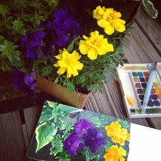 Sketching on the deck on a rainy evening Sketchbooks, Just Love, Sketching, Floral Wreath, Deck, Wreaths, Plants, How To Make, Home Decor