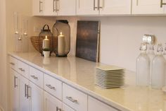 LG Viatera-quartz-Minuet-countertop-white-kitchen-candles-abstract-painting-hello-lovely-studio