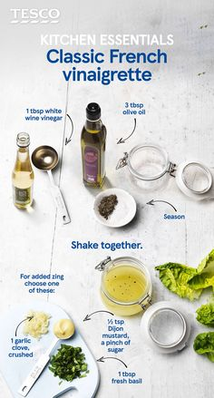 Spruce up any salad instantly with our classic French vinaigrette recipe. This kitchen essential uses just two main ingredients, but why not add some zing through punchy mustard or fragrant basil?   Tesco