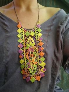 crocheted necklace. She has an etsy shop!