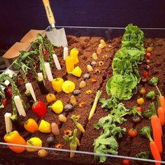 The most creative veggie sampler I've ever seen. The dirt is edible.