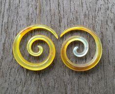 8 gauge 3 mm Ear Piercing Circle Koru Yellow Mother of by Balidoit