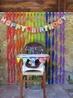 First birthday. Rainbow/primary color birthday party Rainbow First Birthday, Colorful Birthday Party, Wiggles Birthday, Birthday Bbq, Twin First Birthday, Boy Birthday Parties, Birthday Ideas, First Birthdays, Cake Table