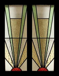 The Very Best Art Deco Sunburst Stained Glass Sidelight Pair of Windows Designs with overlays of acetate - hanging from roof to replicate idea Stained Glass Door, Stained Glass Designs, Stained Glass Panels, Stained Glass Projects, Stained Glass Patterns, Leaded Glass, Mosaic Glass, Window Glass, Colores Art Deco