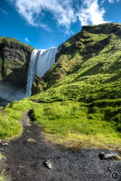Walking up the path to the top of Skógafoss.