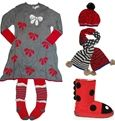 Deux par Deux girls gray soft cotton bow print holiday dress and tights paired with EMU Ladybug Boots and Deux par Deux hat and scarf set in...