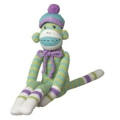 Midwest-CBK Milo Zig-Zag Sock Monkey Collectible, Green, Small
