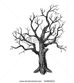 Illustration of Hand drawn leafless tree on white background vector art, clipart and stock vectors. Tree Drawings Pencil, Art Drawings, Winter Tree Drawing, Drawing Trees, Dead Tree Tattoo, Simple Tree Tattoo, Tree Sketches, Tree Illustration, Tree Silhouette
