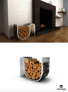 Fireplace Suport by Cobermaster Concept. An easy solution for fire wood storage. Its metallic grating structure allows a great cargo support and the fixation of smaller accessories. Fire Wood, Firewood Storage, Fireplace Accessories, Three Dimensional, Metallic, Concept, Easy, Design, Decor