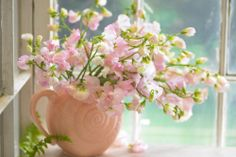 #Sweet #Peas #Flowers #Floral #Arrangement #Pale #Pastel #Pink #Pitcher #Vase :)