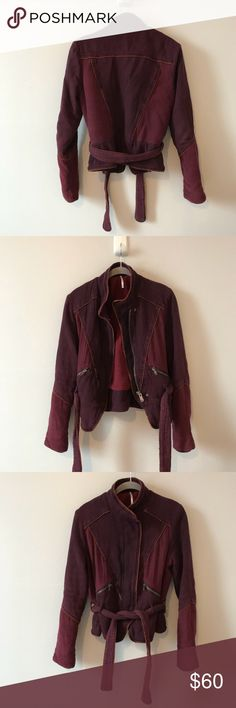 """Free People Moto Jacket Size XS Cotton Maroon Free People Moto Jacket  Size XS  Cotton  Maroon burgundy  Two tone  Zip up  Tie waist  Thick  100% cotton   Some pulls mostly on sleeve   Armpit to armpit 19"""" Shoulder to bottom 22""""  Sleeve 25"""" Free People Jackets & Coats"""