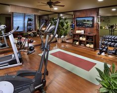 Basement workout room on a smaller scale.