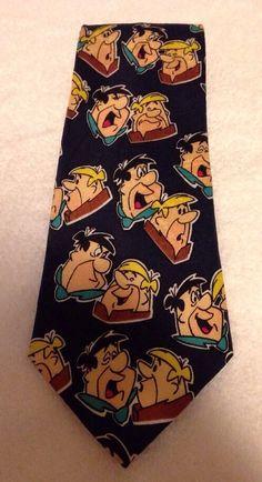 The Flinstones Fred Barney Flinstone Cartoon Character Neck Tie Mens Necktie