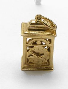 1960s gold charm antique clock with moving hands