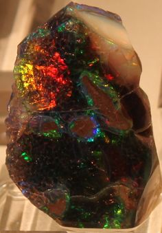 Precious Opal from Virgin Valley, Nevada, on display at the 2012 Tucson Gem & Mineral Show in Arizona.