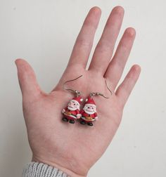 Father Christmas Earrings Polymer Clay by TessClayEarrings on Etsy