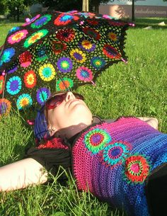 Asymmetric Shirred Rainbow Crochet Top With Pointy Sleeves Decorated With Crochet Circles Sewn With Rainbow Tulle