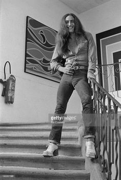 Keyboard player Ken Hensley from English rock group Uriah Heep posed at the Chateau d'Herouville near Paris in France in 1973.