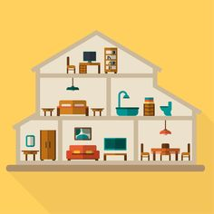 Find House Cut Detailed Modern House Interior stock images in HD and millions of other royalty-free stock photos, illustrations and vectors in the Shutterstock collection. Thousands of new, high-quality pictures added every day. Room Interior, Modern Interior, House Illustration, House Inside, Fashion Flats, Smart Home, High Quality Images, New Pictures, Home Art