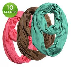 Lightweight Premium Silk-Cotton Blend Infinity Scarf - Assorted Colors $11.00 Our Price $28.99 Retail