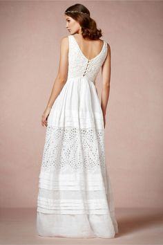 Lace and Ramie Gown in Bride Wedding Dresses at BHLDN | <3