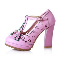 Sexy Womens Ankle T-Strappy Tassel Chunky High Heel Platform Party Pumps Shoes