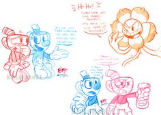 More sketches of cuphead and mugman! xD In the...