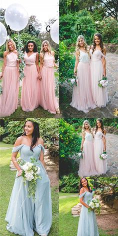 Cheap Custom Modern Fashion Bridesmaid Dress, Blue and Pink Top Different Style Bridesmaid Dresses, PD0426