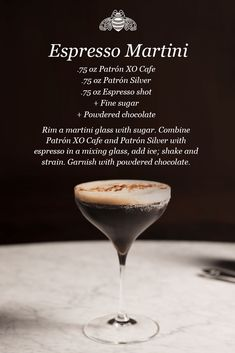 Enjoy Espresso Martini, a cocktail made with Patrón XO Cafe. Fruity Cocktails, Coffee Cocktails, Cocktail Drinks, Cocktail Ideas, Alcohol Drink Recipes, Martini Recipes, Cocktail Recipes, Espresso Martini, Expresso Martini Recipe
