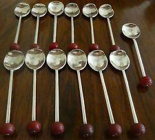 Set of Thirteen Art Deco Bakelite and Silver Plate Demitasse Spoons Spoons, Antique Silver, Silver Plate, Art Deco, Antiques, Tableware, Antiquities, Antique, Dinnerware