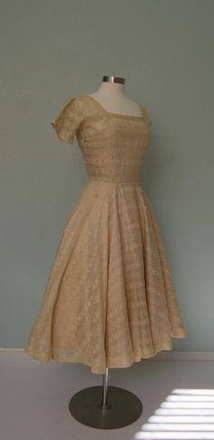 Early 1950s Anne Fogarty Margot Inc // Ecru by KittyGirlVintage