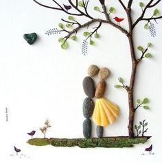 Wedding Gifts For Bride And Groom 50 of the Best Creative DIY Ideas For Pebble Art Crafts Stone Crafts, Rock Crafts, Arts And Crafts, Diy Crafts, Pebble Pictures, Art Pictures, Rock And Pebbles, Custom Wedding Gifts, Personalized Wedding