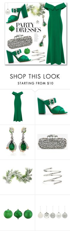 """#PolyPresents: Party Dresses"" by prettynposh2 ❤ liked on Polyvore featuring Elizabeth Kennedy, Tabitha Simmons, Anabela Chan, Alexander McQueen, Northlight Homestore, Venus, GREEN, contestentry and polyPresents"