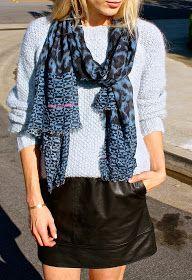 oversized knit + leather skirt