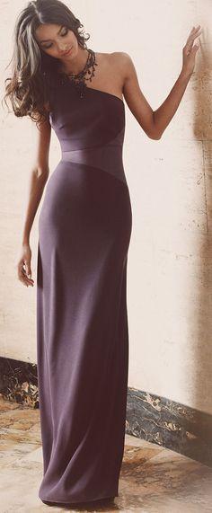 Maids dress - David Meister One Shoulder Open Back Gown