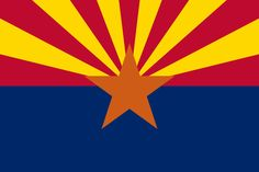 "Arizona state flag (Arizona was admitted to the Union in 1912 - this flag became the official flag of Arizona in 1917).  The 13 gold and red ""beams"" on Arizona's flag represent the sun setting over the western desert and the original 13 colonies ,The center star signifies copper production (Arizona produces copper). The field of blue is the same ""liberty blue"" as the United States flag. Blue and ""old gold"" are also Arizona's official state colors."