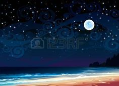 full moon romantic night: Vector night cloudy sky with full moon, beach and sea