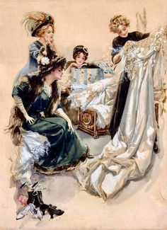 """""""The Trousseau"""" illustration by Harrison Fisher from Five Stages of a Girl's Life. Second stage. Vintage Prints, Vintage Art, Vintage Ladies, Michael Klein, Estilo Pin Up, Art Ancien, Gibson Girl, Girls Life, Belle Epoque"""